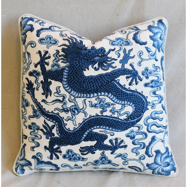 """Blue Italian Chinoiserie Scalamandre Dragon Feather/Down Pillow 19"""" Square For Sale - Image 8 of 8"""