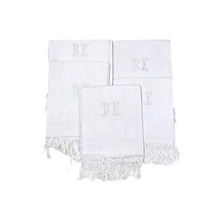 Antique French Linen Bath Towels - Set of 5 For Sale