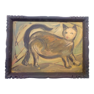 Mid 20th Century Cat Portrait Oil Painting, Framed For Sale