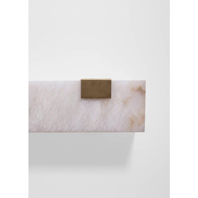 Orphan Work Contemporary 003-1c Sconce in Brushed Brass and Alabaster by Orphan Work, 2018 For Sale - Image 4 of 4