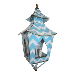 Blue and White Zig-Zag Hanging Pendant For Sale