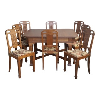 Antique French Oak Art Nouveau Dining Set - 9 Pieces For Sale