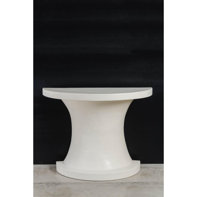 Diva Half Round Table - Cream Lacquer by Robert Kuo, Hand Repousse, Limited Edition For Sale In Los Angeles - Image 6 of 6