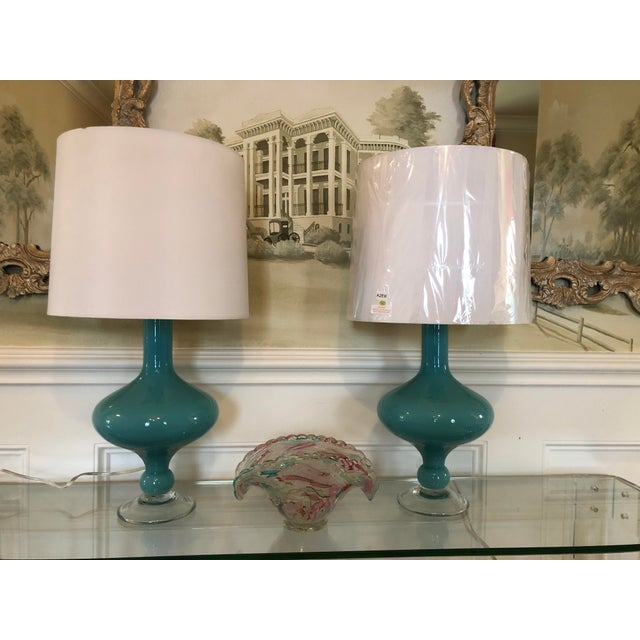 2010s Arteriors Rory Lamps With Silk Shades - a Pair For Sale - Image 5 of 9