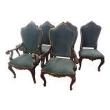 Image of Henredon Furniture Venetian Mahogany Velvet Dining Chair-Set Of 6 For Sale