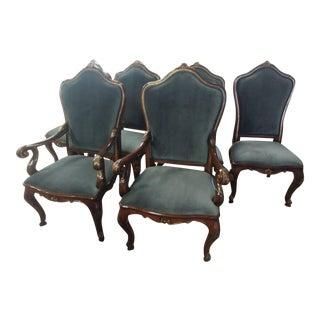 Henredon Furniture Venetian Mahogany Velvet Dining Chair-Set Of 6 For Sale