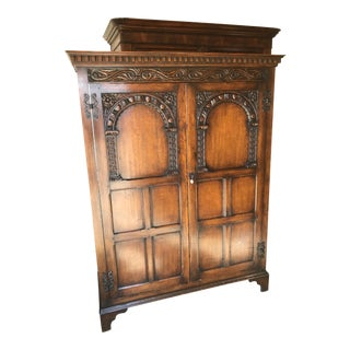 Circa 1920's English Jacobean Style Oak Cabinet.