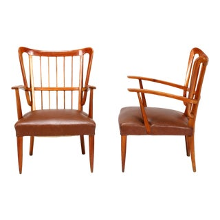 Paolo Buffa 1950s Chairs in Cherry Wood For Sale