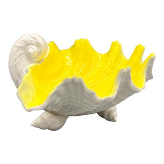 1970s Vintage Fitz and Floyd Yellow and White Shell Bowl For Sale
