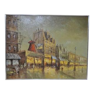 1970s Vintage Moulin Rouge, Paris Oil Painting