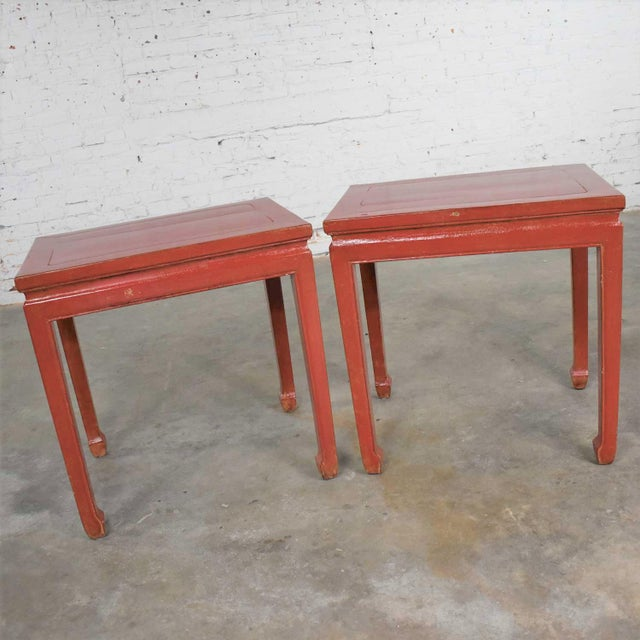 Mid 20th Century Asian Ming Style Chinese Crackle Red Lacquer Rectangular End Tables - a Pair For Sale - Image 6 of 13