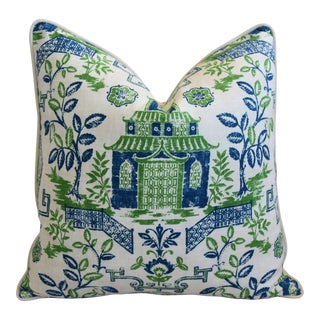 "Chinoiserie Blue, Green & White Pagoda Linen & Velvet Pillow 26"" Square For Sale"