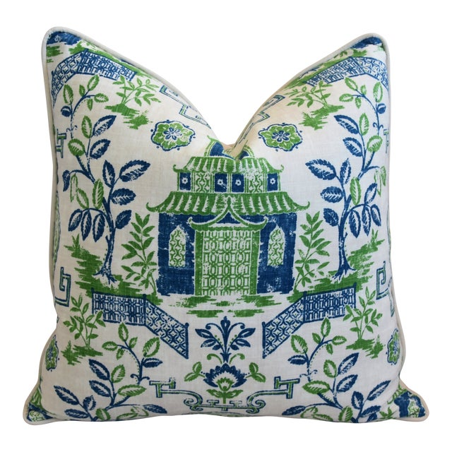 """Chinoiserie Blue, Green & White Pagoda Linen & Velvet Pillow 26"""" Square For Sale"""