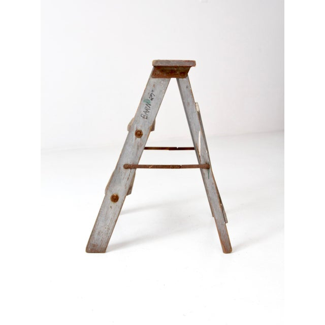 Country Vintage Wooden Step Ladder For Sale - Image 3 of 12