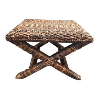 1990s Boho Chic Palecek Woven Bench For Sale