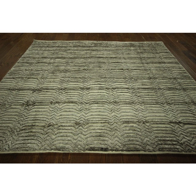 "Wool & Silk Pile Gray Moroccan Rug - 7'4"" x 8'2"" - Image 3 of 10"