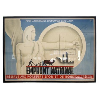 """French Art Deco 1920's Poster """"Borrowing National...Gold Bearers..."""" For Sale"""