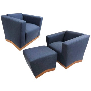 Pair of Dakota Jackson Lounge Chairs and Ottoman For Sale
