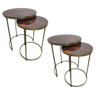 Two Pairs of Parchment Top Nest of Tables For Sale