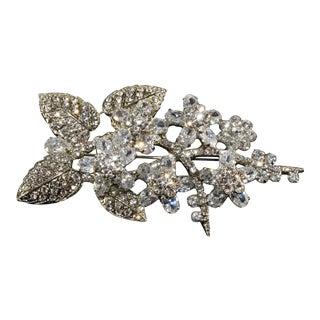 Siman Tu Brooch Cz Clear Rhinestones Crystals Flower Floral Spray Silver Pin For Sale