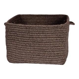 "Chunky Natural Wool Square Basket - Dark Brown 14""x10"""