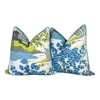 Chinoiserie Thibaut Daintree in Turquoise & Chartreuse Pillows - a Pair For Sale