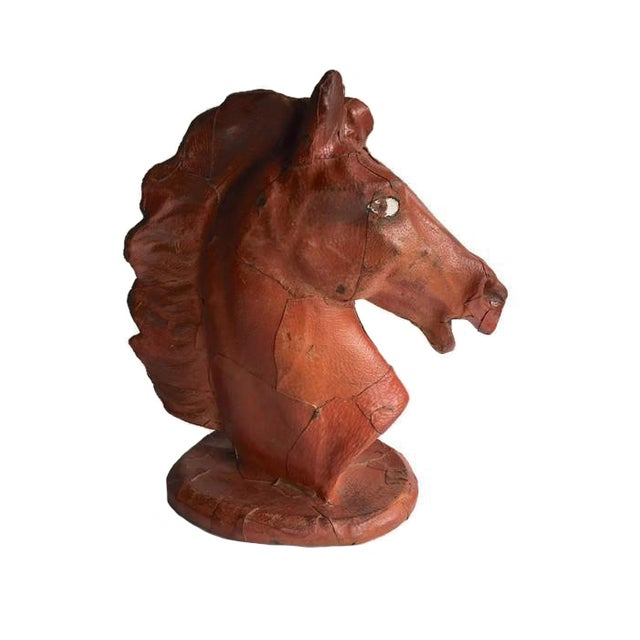 Vintage Leather Horse Head Statue - Image 1 of 6