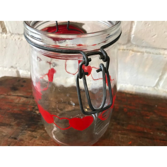 Glass Vintage Glass Canister Jar W/ Hearts For Sale - Image 7 of 9