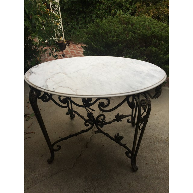 Solid Marble Top Beveled Wrought Iron Table - Image 9 of 10