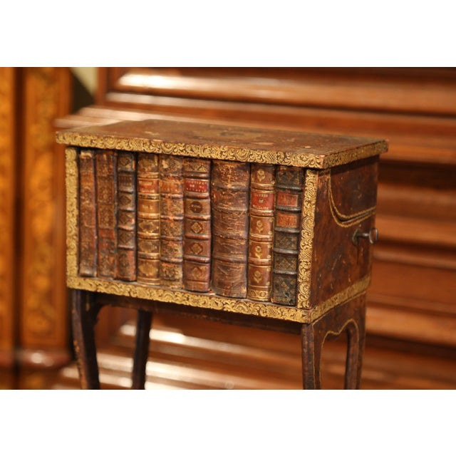 French Early 19th Century French Faux Leather Bound Books Liquor Cabinet With Glasses For Sale - Image 3 of 11