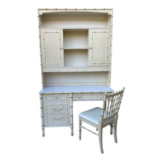 Thomasville Allegro Regency Style Faux Bamboo Writing Dest & Hutch With Chair For Sale