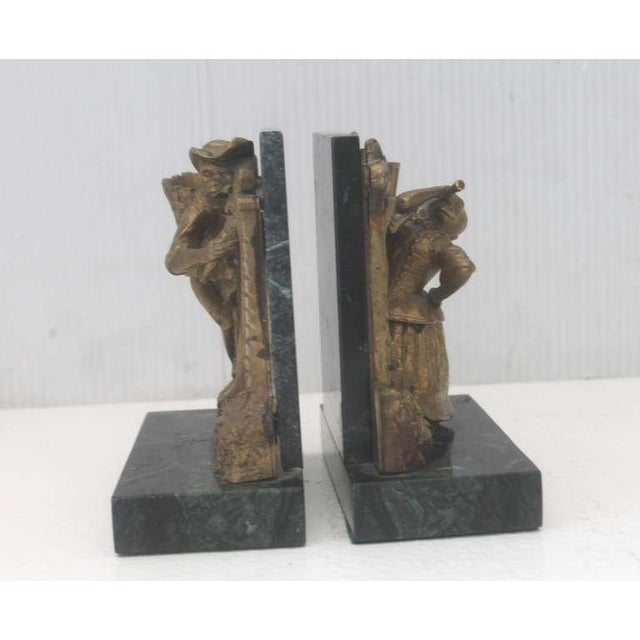 American Pair of Bronze Monkey and Green Marble Bookends For Sale - Image 3 of 11