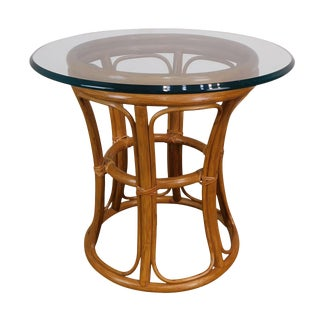 Vintage Rattan Round Glass Top Side Table For Sale