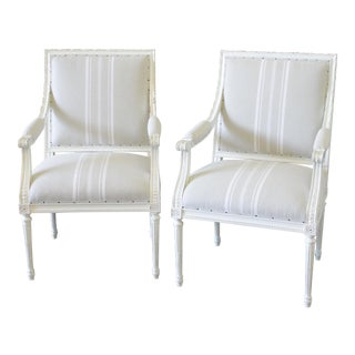 Louis XVI Style Natural French Stripe Linen Armchairs - A Pair
