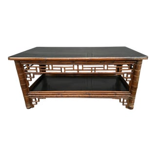 Two Tier Vintage Bamboo Coffee Table Black Lacquer Top For Sale