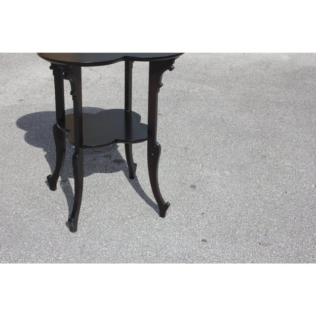 1940s French Art Deco Dark Mahogany Two-Tier Side Table For Sale - Image 10 of 13