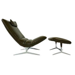 Unique Sculptural Lounge Chair and Ottoman For Sale