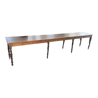 Antique French Pine Refectory Dining Table For Sale