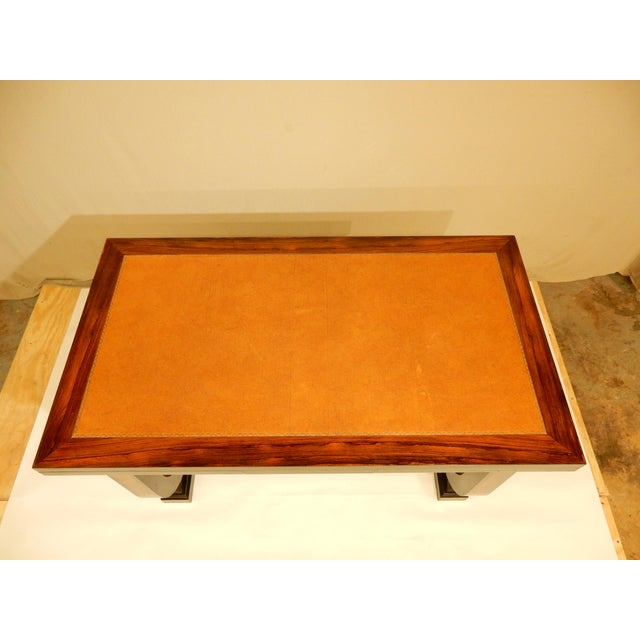 Art Deco Leather Top Table With Extensions For Sale - Image 4 of 11