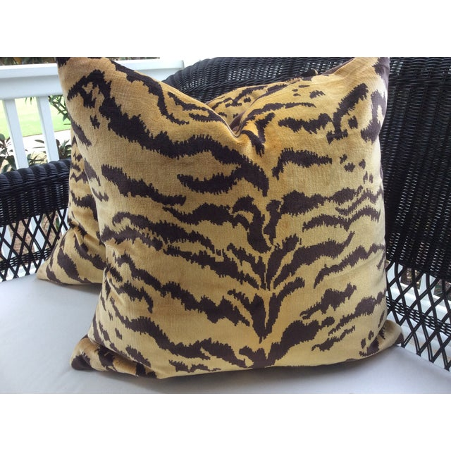 """Gorgeous """"Le Tigre"""" fabric from Scalamandre -- Lustrous Italian silk velvet -- Fashioned into custom 22"""" down pillows...."""