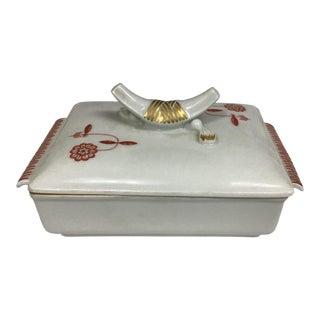 Vintage Meissen Porcelain Trinket Box With Red Flowers For Sale
