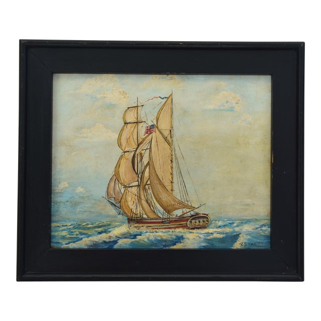 Framed 1940s Sailing Ship Oil Painting - Image 1 of 11