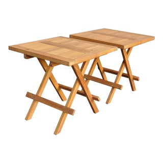Japanese Teak Folding Tables - a Pair For Sale