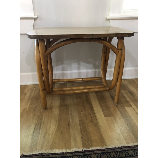 1970s Boho Chic Rattan Side Table With Laminate Top For Sale - Image 9 of 9