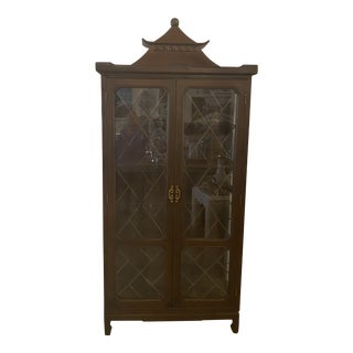 Vintage Chinese Chippendale Greek Key Pagoda China Display Cabinet For Sale