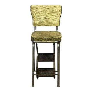Green Striped Vinyl High Back Chair