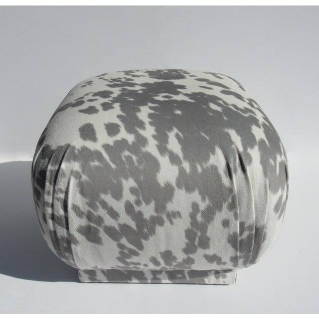 White Vintage C.1970s Karl Springer Souffle' Pouf Ottoman in a Nova Suede Pony Hide Spotted Textile For Sale - Image 8 of 13