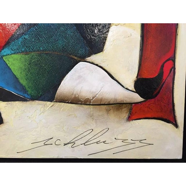 "Blue Original David Schluss Painting ""Fantasia of Music"" For Sale - Image 8 of 8"