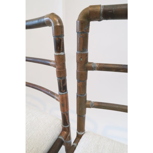 Copper Upholstered Pipe Chairs - Set of 4 - Image 5 of 8