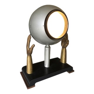 Original Surrealism Bronze Hands and Spotlight Table Lamp For Sale